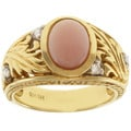 Michael Valitutti 18k Yellow Gold Pink Opal and Diamond Ring