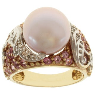 Michael Valitutti 14k Two-tone Gold Pink or Gold Tahitian Pearl, Sapphire and Diamond Ring