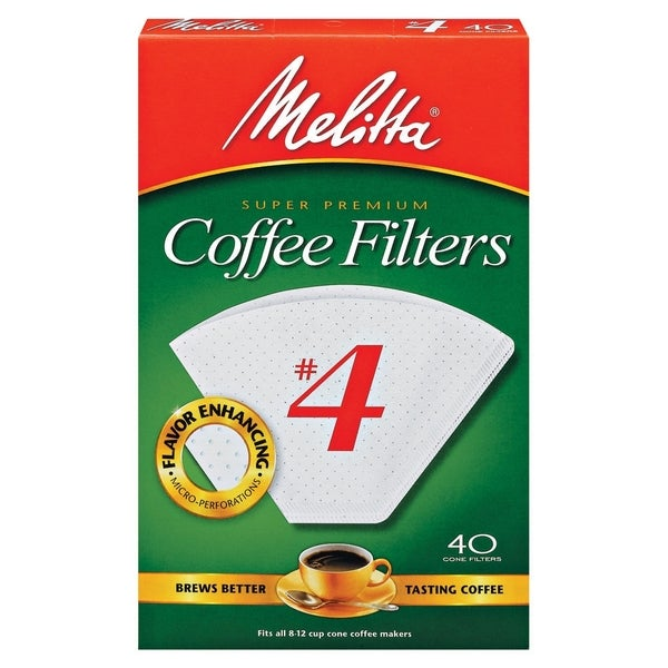 Melitta 624404 #4 Paper White Cone Coffee Filters (Set of 40) 11533848