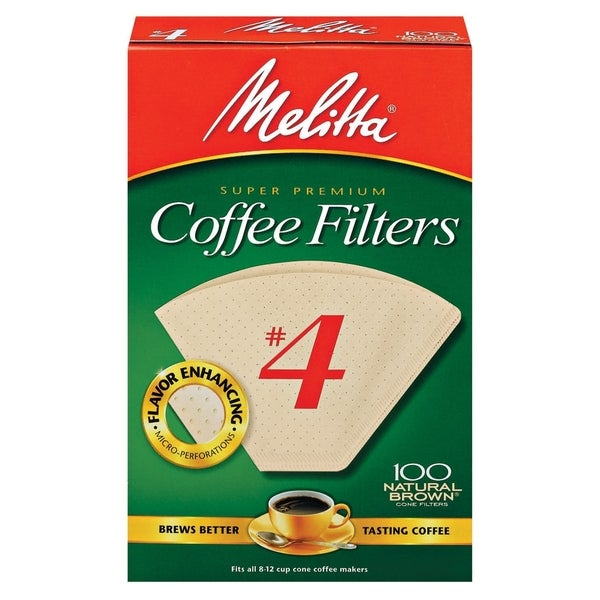 Melitta 624602 #4 Natural Brown Paper Cone Coffee Filters- 400 Count - 15568469 - Overstock.com ...