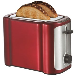 Brentwood TS-290R 2 Slice Stainless Steel Toaster- Red & Stainless