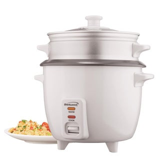 Brentwood TS-600S 5 Cup Rice Cooker With Steamer Attachment- White