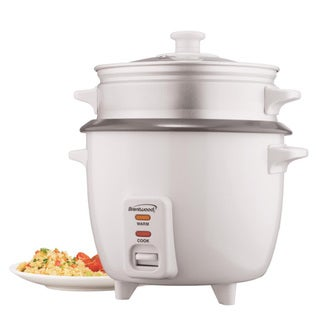 Brentwood TS-180S 8 Cup Rice Cooker With Steamer Attachment- White