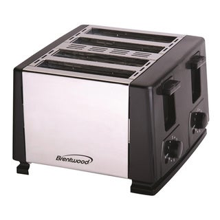 Brentwood TS-284 4 Slice Stainless Steel Toaster- Black & Stainless