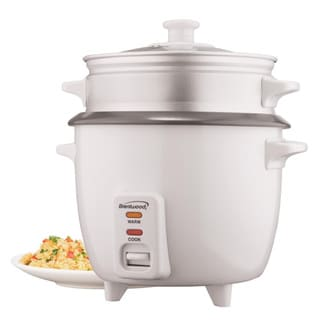 Brentwood TS-700S 4 Cup Rice Cooker With Steamer Attachment- White