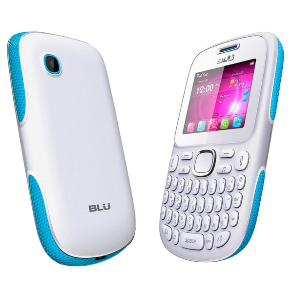 BLU Samba TV Q170T Unlocked GSM Dual-SIM Cell Phone - White/Blue