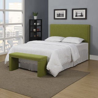 Portfolio Upton Apple Green Linen Full/Queen Headboard and Bench Set