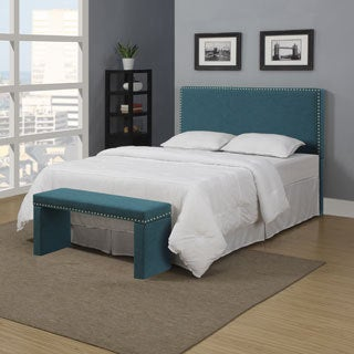 Portfolio Upton Caribbean Blue Linen Full/Queen Headboard and Bench Set