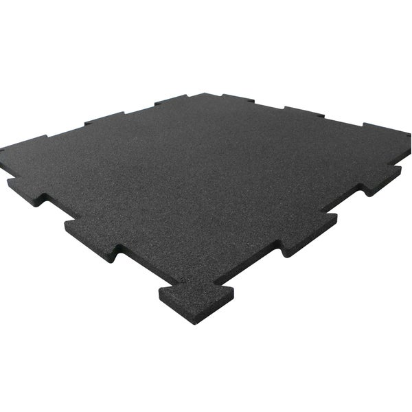 Rubber-Cal Puzzle-Lock Interlocking Rubber Tiles - 3/8 x 20 x 20 inch (Set of 6 rubber tiles, Covers 16.5 Square Feet) 11538776