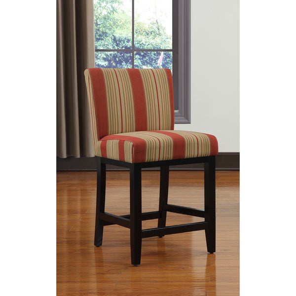 Portfolio Orion Red Stripe Upholstered 23 Inch Bar Stool