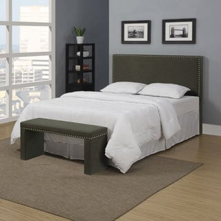 Portfolio Upton Charcoal Gray Linen Full/Queen Headboard and Bench Set