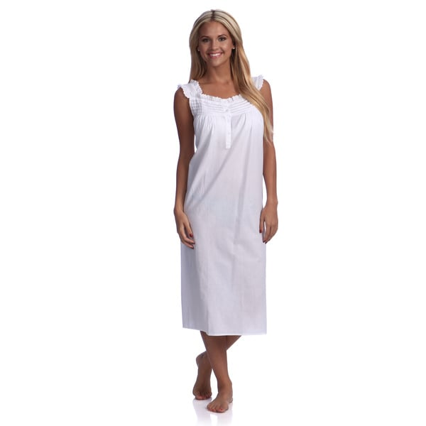Women's White Eyelet-trimmed Cotton Nightgown