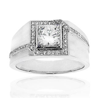 Moise Silvertone Clear Cubic Zirconia Pave Ring