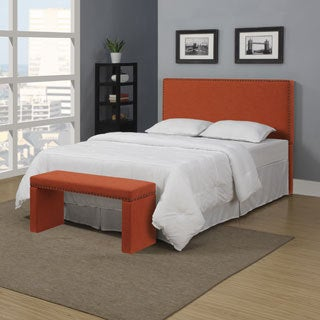 Portfolio Upton Orange Spice Linen Full/Queen Headboard and Bench Set