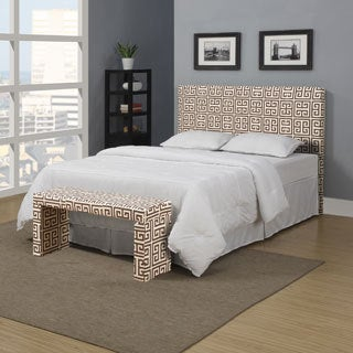 Portfolio Upton Brown Greek Key Full/Queen Headboard and Bench Set
