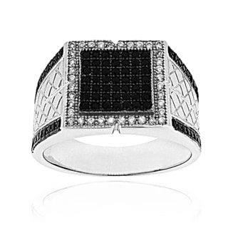 Moise Two-tone Men's Black and White Cubic Zirconia Ring