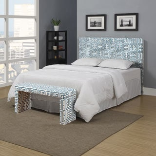 Portfolio Upton Caribbean Blue Greek Key Full/Queen Headboard and Bench Set