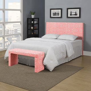 Portfolio Upton Pink Coral Greek Key Full/Queen Headboard and Bench Set