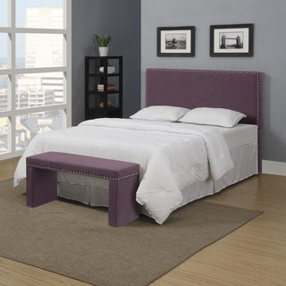Portfolio Upton Amethyst Purple Linen Full/Queen Headboard and Bench Set