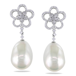 Miadora 14k White Gold 1 1/6ct TDW Diamond and Pearl Earrings (G-H, SI1-SI2)