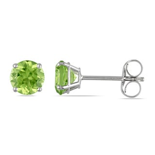 Miadora 14k White Gold Peridot Stud Earrings