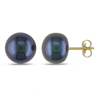 Miadora 10k Yellow Gold Freshwater Black Pearl Stud Earrings (8-8.5 mm)