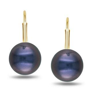 Miadora 10k Yellow Gold Freshwater Black Pearl Earrings (7-7.5 mm)