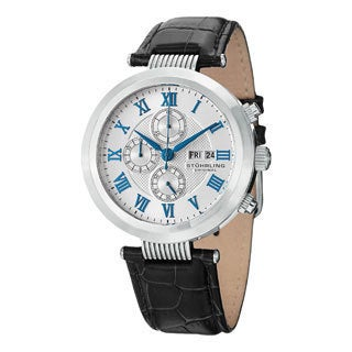 Stuhrling Original Men's Diplomat Quartz Chronograph Leather Strap Watch