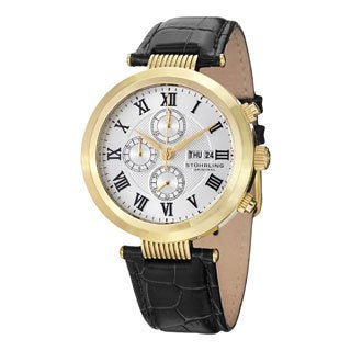 Stuhrling Original Men's Diplomat Quartz Chronograph Stainless Steel Leather Strap Watch