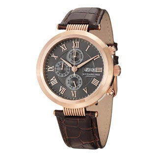 Stuhrling Original Men's Diplomat Quartz Chronograph Water-resistant Leather Strap Watch