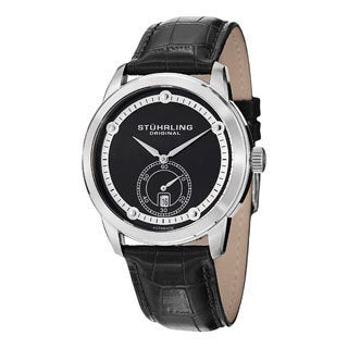 Stuhrling Original Men's Circuit Automatic Black Leather-strap Watch
