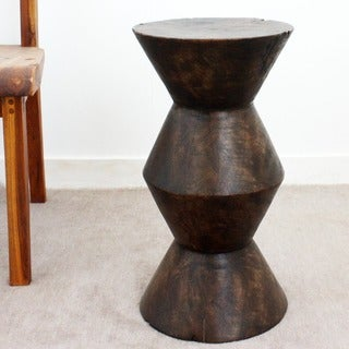 12-Inch Diameter x 22-Inch High Mocha Oil Mango Column Stool (Thailand)