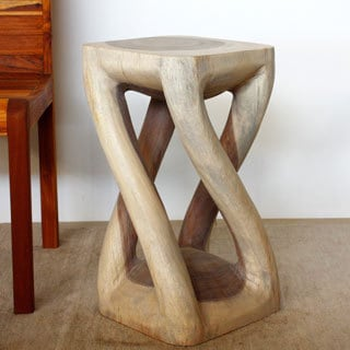 12-Inch Diameter x 22-Inch High Agate Grey Oil Vine Twist Stool (Thailand)