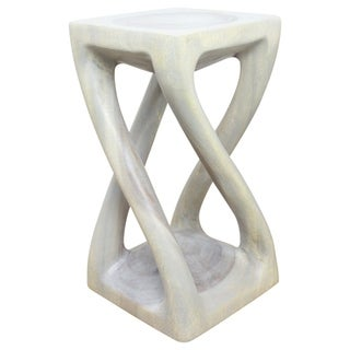 12-inch Square x 22-inch High Agate Grey Oil Vine Twist Stool (Thailand)