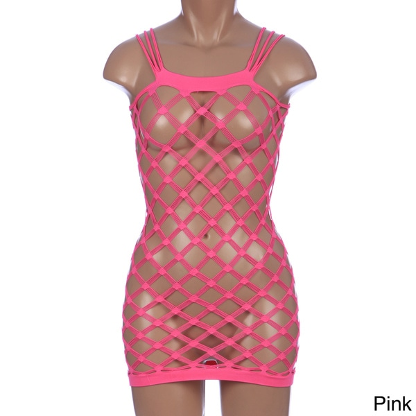 Slinky Seamless Diamond Net Dress in Black and Pink by Pink Lipstick