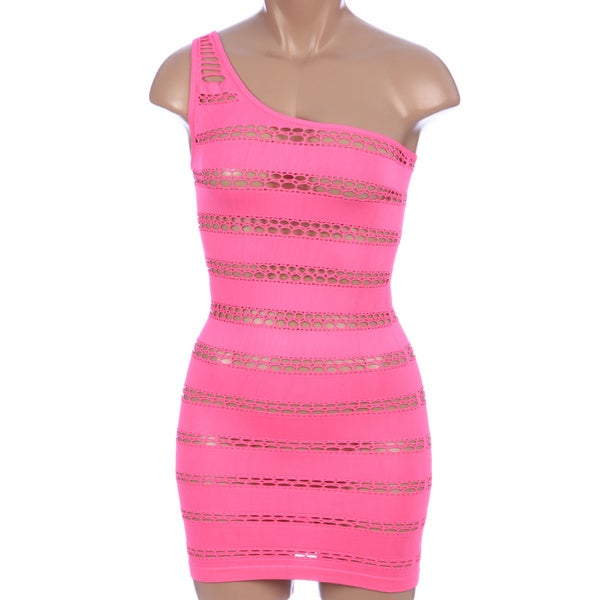Pink Lipstick One-shoulder Seamless Mini Dress