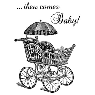 """Pink Persimmon Clear Stamp 3""""X4"""" Sheet-Baby Carriage"""