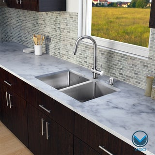 VIGO All in One 29-inch Undermount Stainless Steel Double Bowl Kitchen Sink and Faucet Set