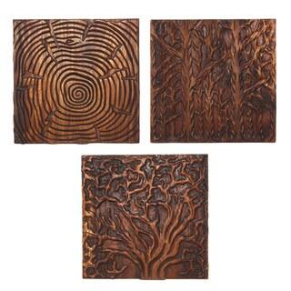 Set of 3 Tree Life Oak Oil Solid Wall Panels (Thailand)