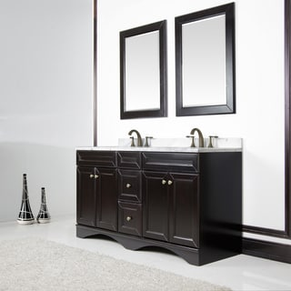 Espresso and Italian Carrera Ivory Marble Top 60-inch Double Vanity by Sirio