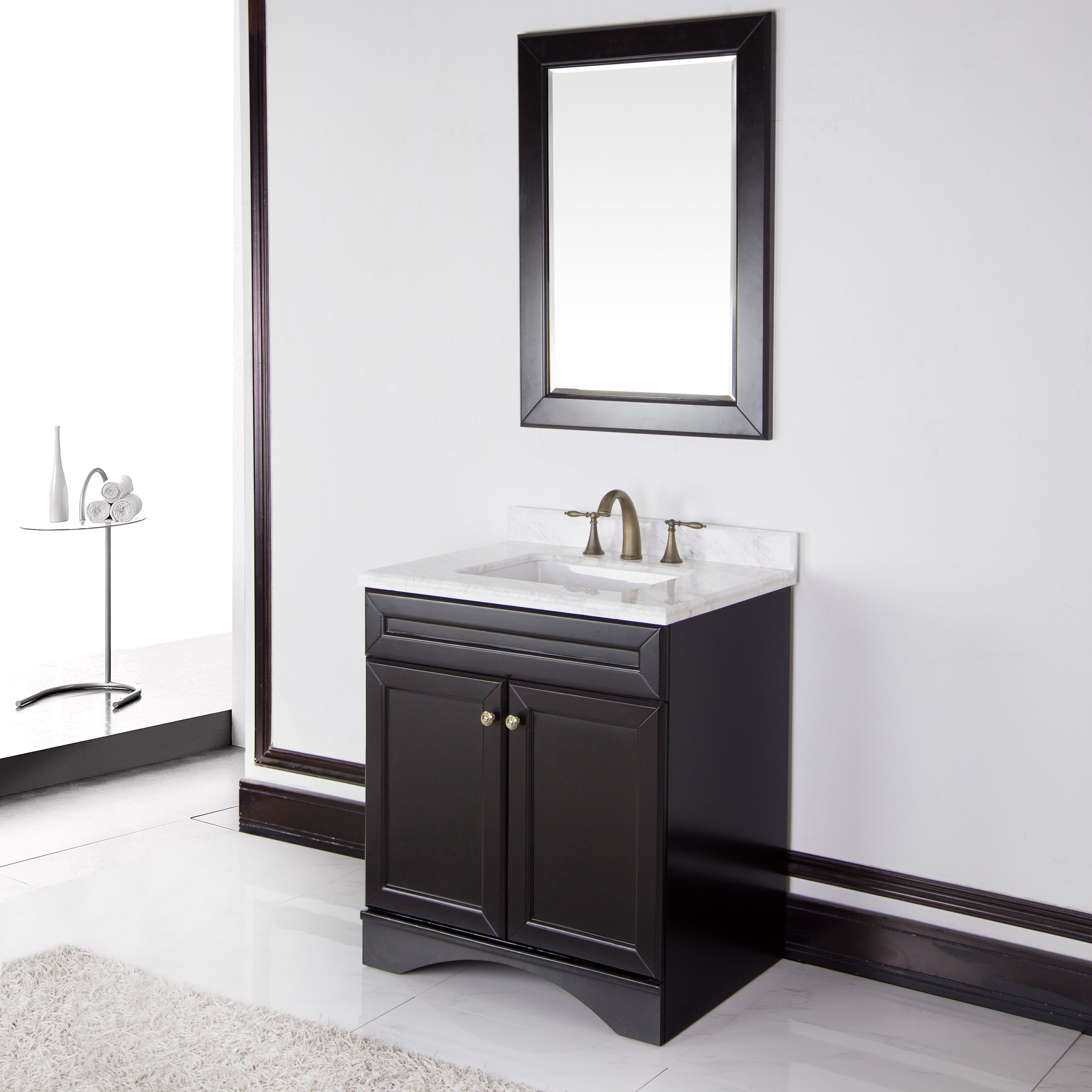 cabinet with 30 inch carrera italian marble top bathroom vanity