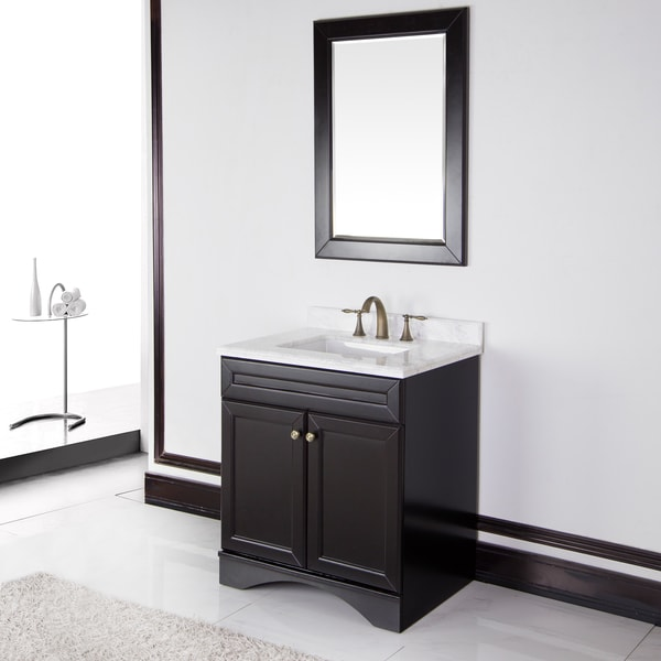 Corvus Espresso Cabinet with 30-inch Carrera Italian Marble Top Bathroom Vanity