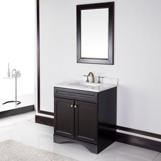 Espresso cabinet/ Ivory Carrera Italian Marble Top 30-inch Bathroom Vanity by Sirio
