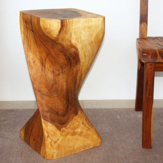 Single Twist 12-Inch Square x 24-Inch High Oak Oil Stool (Thailand)