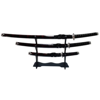 Black/Red Samurai Katana Carbon Steel Swords 3-piece Set/ Stand