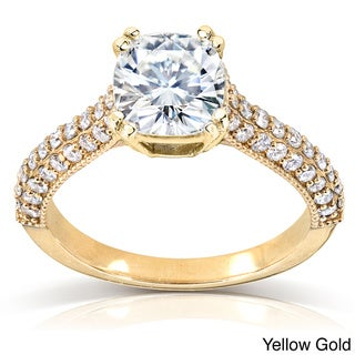 Annello 14k Gold Cushion-cut Moissanite and 1/2 ct TDW Diamond Engagement Ring (G-H, I1-I2)