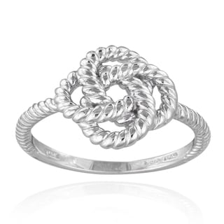 Mondevio Sterling Silver Polished Rope Design Love Knot Ring