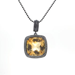 Sterling Silver Citrine 1/5ct TDW White Diamond Pendant (JK, I2-I3)