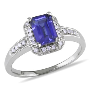 Miadora 10k White Gold Created Sapphire and 1/8ct TDW Diamond Ring (G-H, I1-I2)
