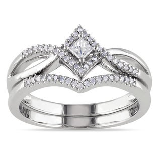 Miadora Sterling Silver 1/4ct TDW Diamond Split Shank Halo Bridal Ring Set (G-H, I2-I3)